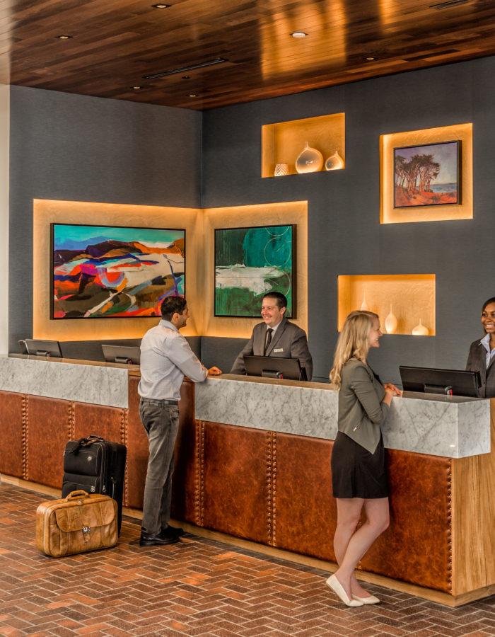 Lobby at Portola Hotel & Spa at Monterey Bay.