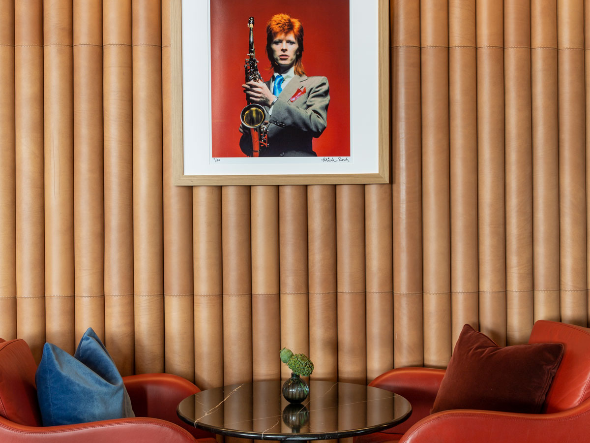 London's Hotel Cafe Royal pays tribute to its past patron—David Bowie.