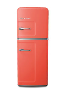 Slim fridge in salmon pink by Big Chill