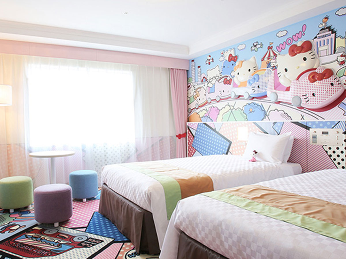 A Hello Kitty guestroom at Keio Plaza Hotel Tama in Tokyo.