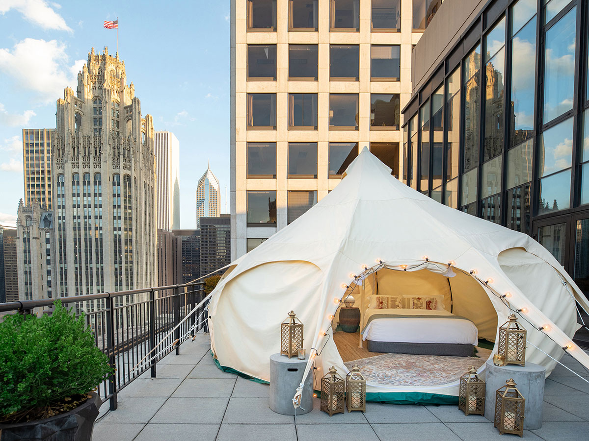Glamping tent at the Gwen Chicago