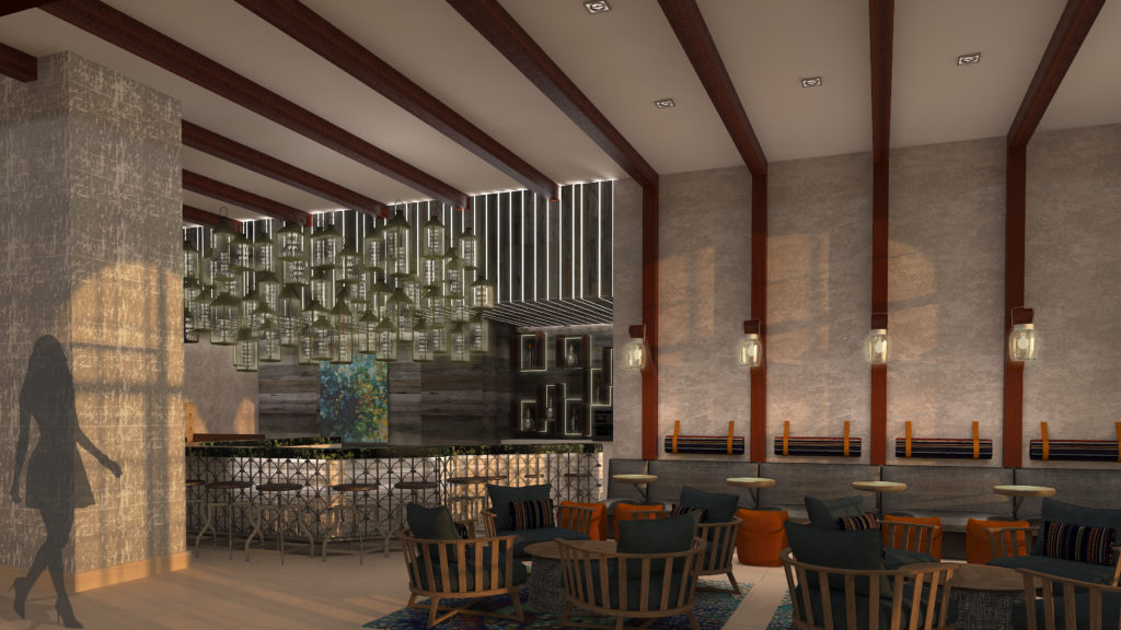 A rendering of the lobby bar at the Renaissance New York Chelsea Hotel.