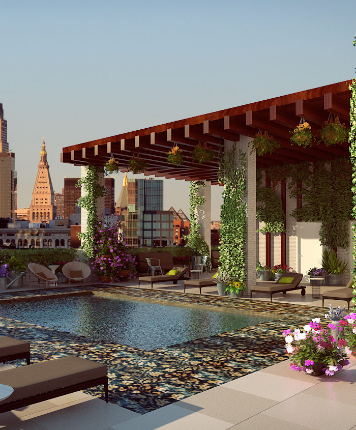 A rendering of the Somewhere Nowhere rooftop pool at the Renaissance New York Chelsea Hotel.